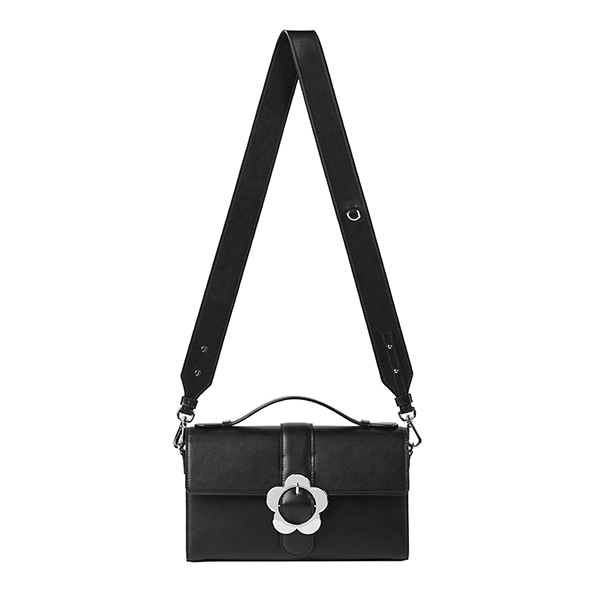 [NEW]Heyday Flower Buckle Bag_Black Leather